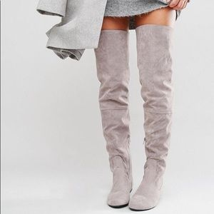 Daisy Street Grey thigh High Over the Knee Boots